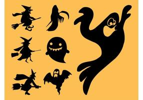 Siluetas de los fantasmas y de las brujas