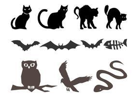 Silhuetas de animais de Halloween