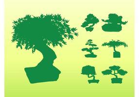 Silhuetas de árvores de bonsai