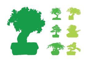 Siluetas de árboles de bonsai