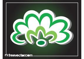 Grön blommaklistermärke