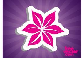 Etiqueta engomada rosada de la flor