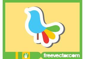 Sticker coloré d'oiseau