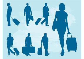 Siluetas de personas que viajan