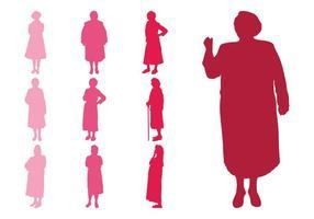 Silhuetas de mulheres idosas