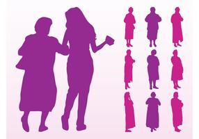 Mujeres de edad avanzada siluetas gráficos
