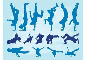 Silhouet set van breakdancers