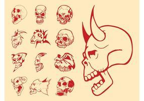 Conjunto de crânios assustadores