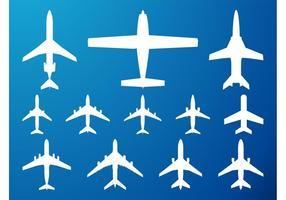 Conjunto de siluetas de aviones