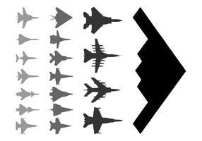 Militaire vliegtuigen silhouetten