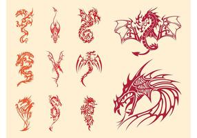 Ensemble de tatouage de dragons