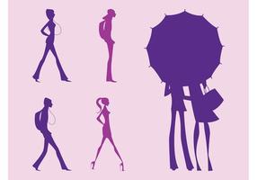 Conjunto de siluetas femeninas