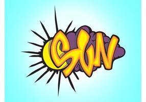 Pedazo del graffiti del sol