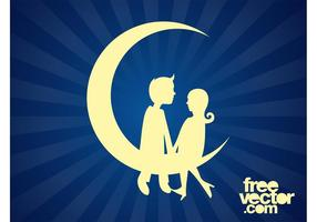 Couple Sitting On Moon