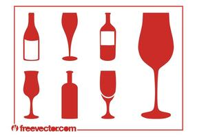 Ensemble de silhouettes de vin