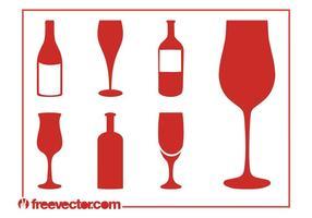 Conjunto de Silhuetas de Vinho