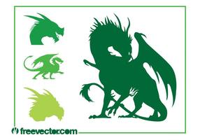Ensemble de silhouettes de dragon