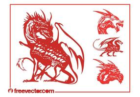 Ensemble de dragons vectoriels