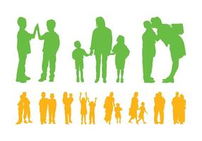 Kinderen En Ouders Silhouetten