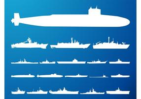Submarines-and-ships-silhouettes