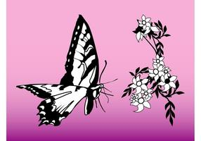 Butterfly-and-flower-graphics