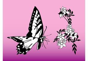 Gráficos de borboleta e flor
