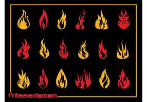 Ensemble brûlant des flammes