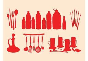 Küchenartikel Silhouetten Set