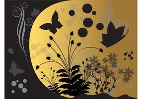 Hintergrund mit Schmetterlingen und Blumen