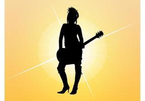 Flicka Med Gitarr Silhuett