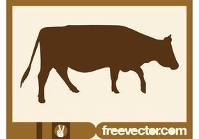 Silhouette de vache à pied