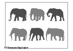 Ensemble Silhouette des éléphants