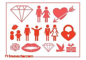 Ícones de casamento e amor