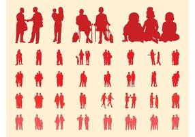 People-in-groups-silhouettes-set