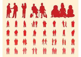 Conjunto de silhuetas de pessoas em grupos