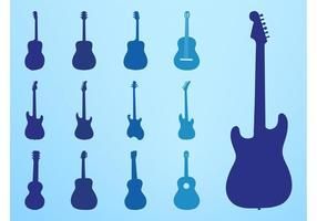 Conjunto de Silhuetas de Guitarra