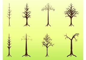 Ensemble de silhouettes des arbres morts