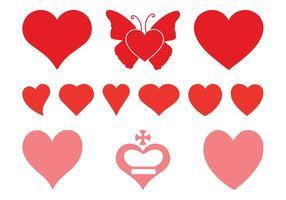 Conjunto de corazones románticos