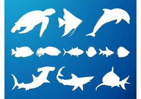 Sea Creatures Silhouetten Set