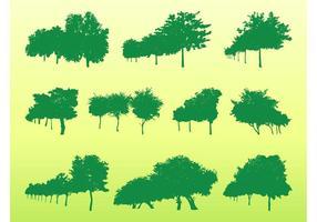Ensemble de silhouettes d'arbres