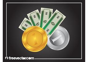 Rechnungen und Münzen Grafiken