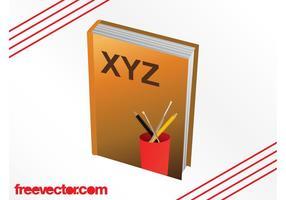 Lehrbuch und Bleistifte Grafiken