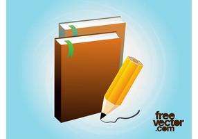 Libros Y Lápiz Vector