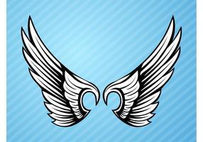 Elemento de alas de pájaro blanco y negro