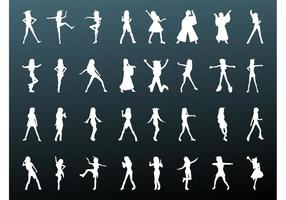 Girls Vector Silhouettes