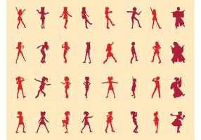 Girls Silhouettes Vector Set