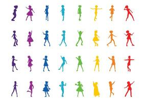 Colorful Girl Silhouettes