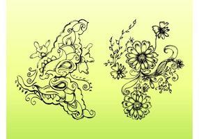 Retro Flower Drawings