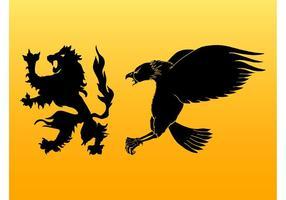 Heraldische Tiere Silhouetten