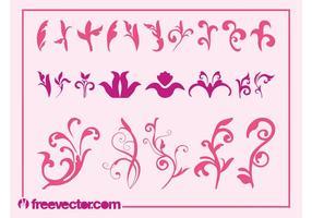 Rosa Blumen-Grafik-Set